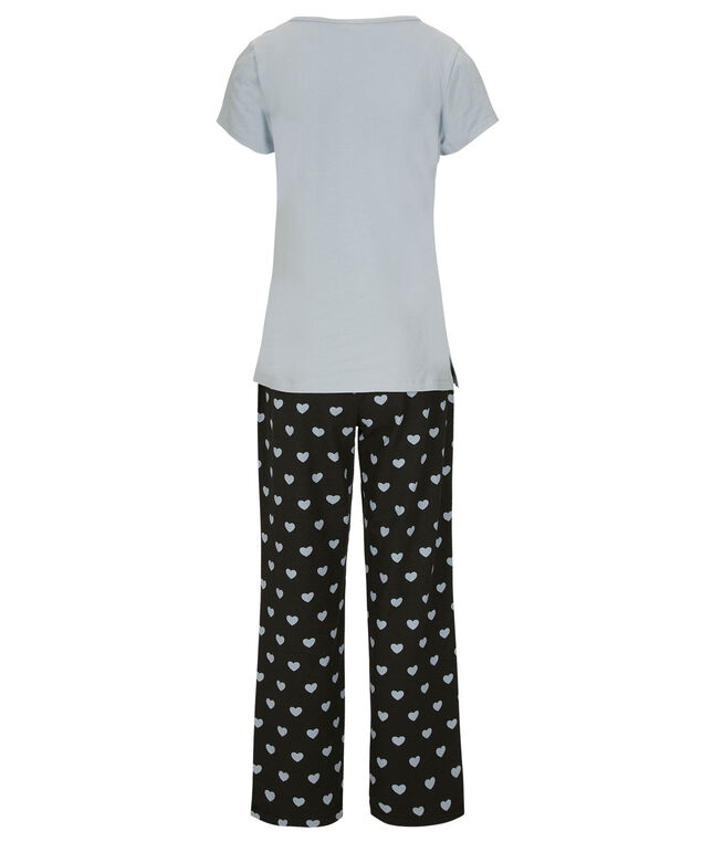 French Bulldog Pajama Set, Light Blue/Black/White, hi-res