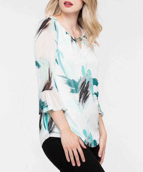 Flounce Sleeve Hardware Clasp Top, Pearl/Ivy/Silver, hi-res