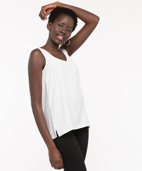 Double-V Woven Layering Cami, Pearl, hi-res