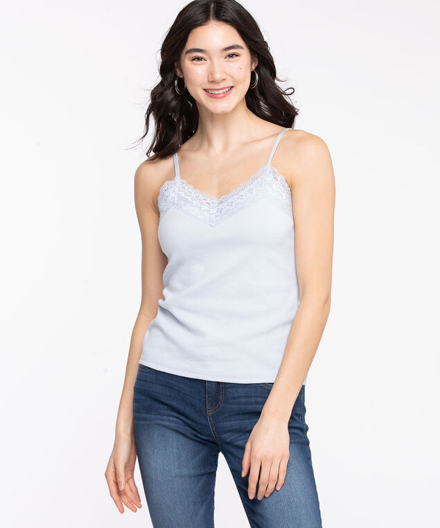 Lace V-Neck Ribbed Cami, Heather
