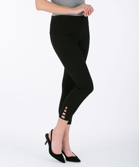 Ladder-Trim Microtwill Crop Pant, Black, hi-res