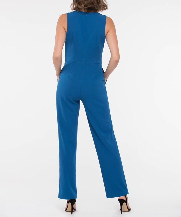 Twisted Detail Scuba Crepe Jumpsuit, Steel Blue, hi-res