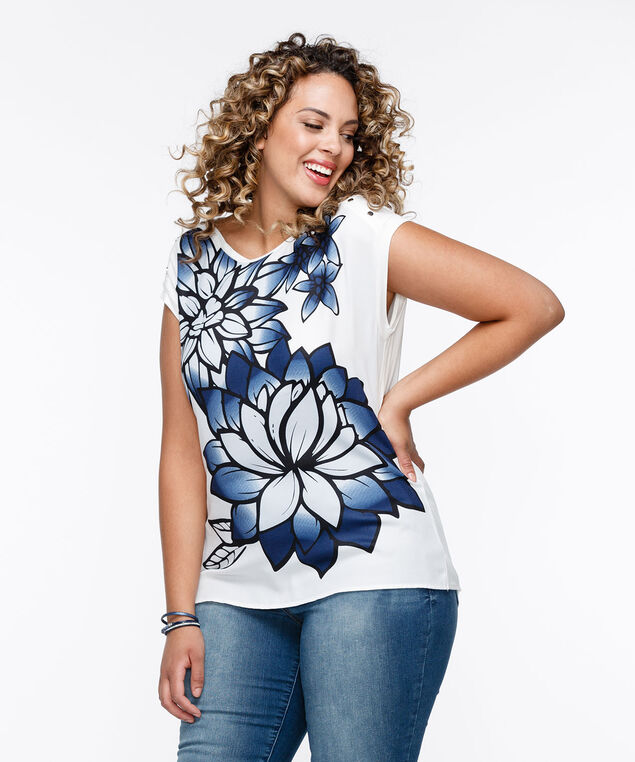 Extended Sleeve Mixed Media Top, Pearl/Black/Blue, hi-res