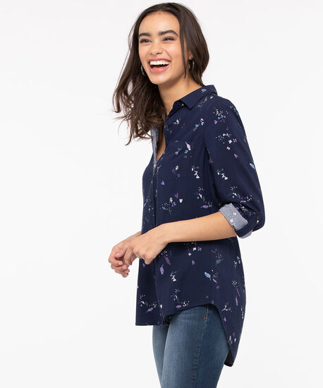 Floral Button Front Collared Shirt, Summer Navy/Lavender/Pine, hi-res