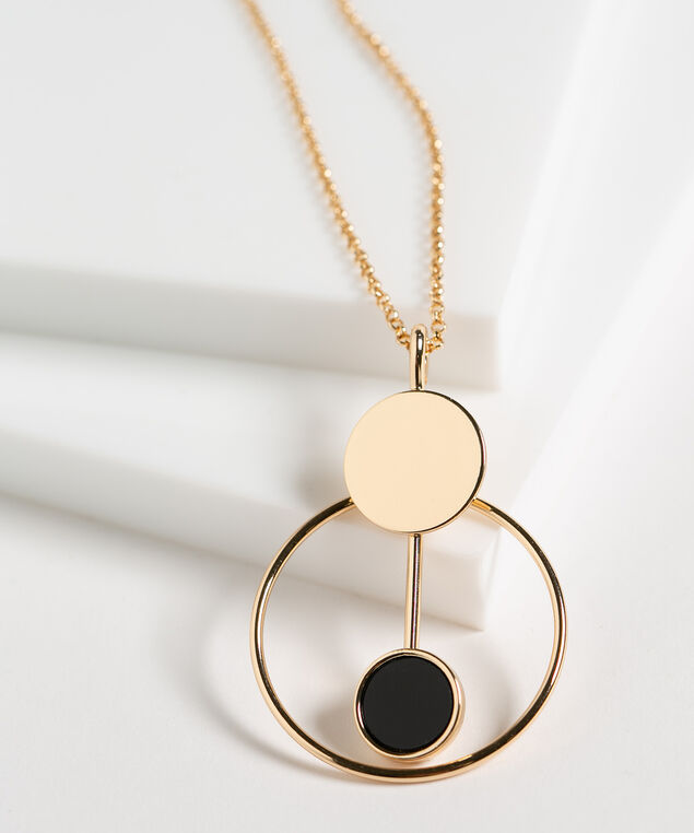 Black & Gold Geo Pendant Necklace, Black/Gold, hi-res