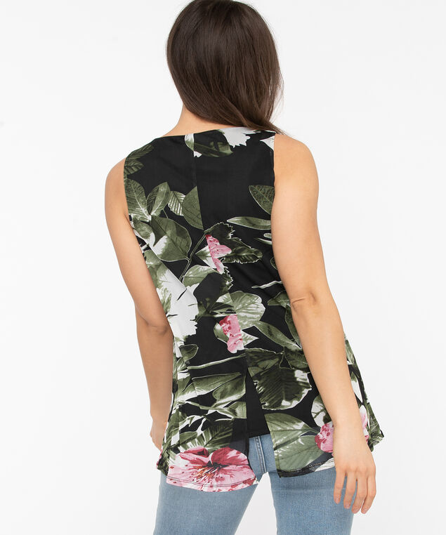 Sleeveless Floral Mesh Overlay Top, Black/Olive/Pink, hi-res