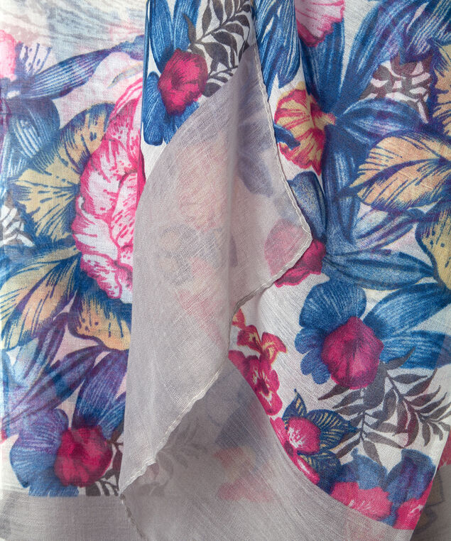 Paisley & Floral Print Oblong Scarf, Grey/Bright Pink/Bright Blue, hi-res