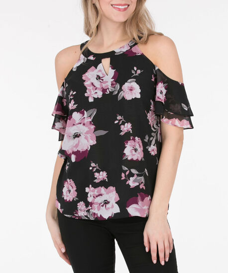 Halter-Style Cold Shoulder Blouse, Black/Pink/Grey, hi-res