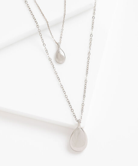 Layered Teardrop Pendant Necklace, Silver, hi-res