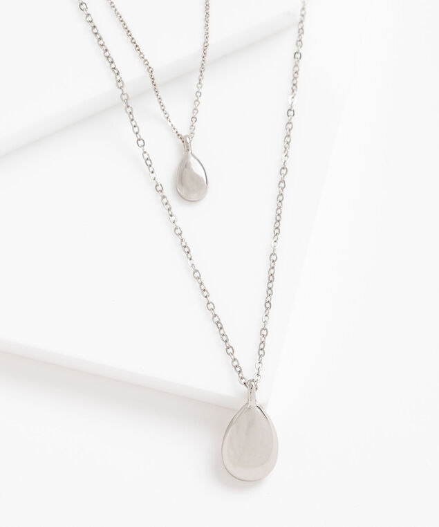 Layered Teardrop Pendant Necklace, Silver