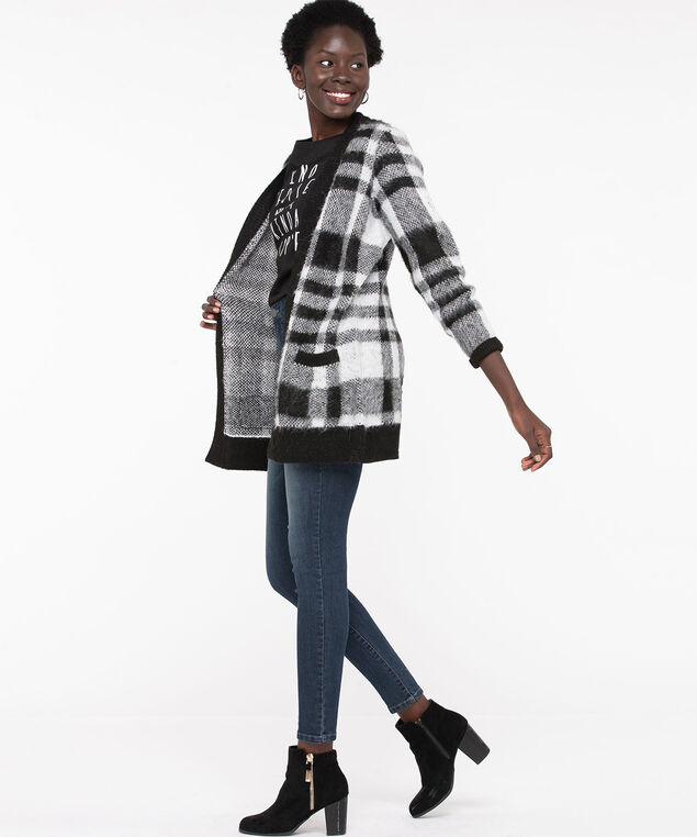 Buffalo Check Tunic Length Cardigan, Black/Grey/White, hi-res