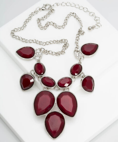 Faceted Stone Teardrop Statement Necklace, Rhodium/Burgundy, hi-res