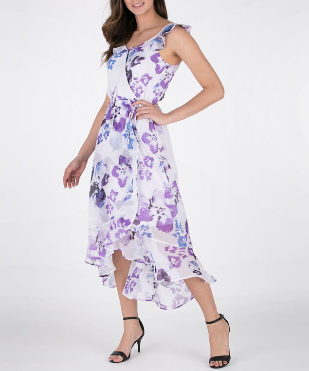 Flutter Sleeve High-Low Dress, White/Purple, hi-res
