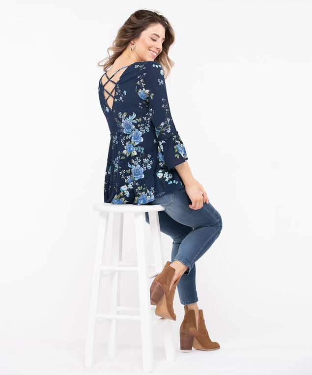 Floral Bell Sleeve Peplum Top, Summer Navy/Azure, hi-res