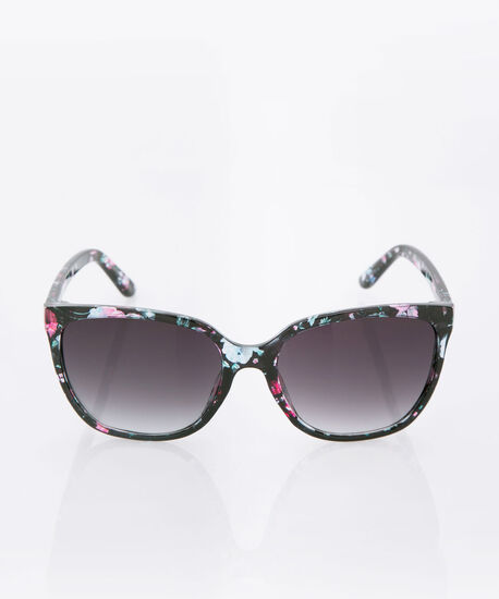 Rounded Floral Sunglasses, Black, hi-res