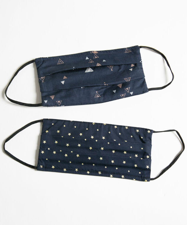 Printed Face Mask 2-Pack, Navy/Beige Stars