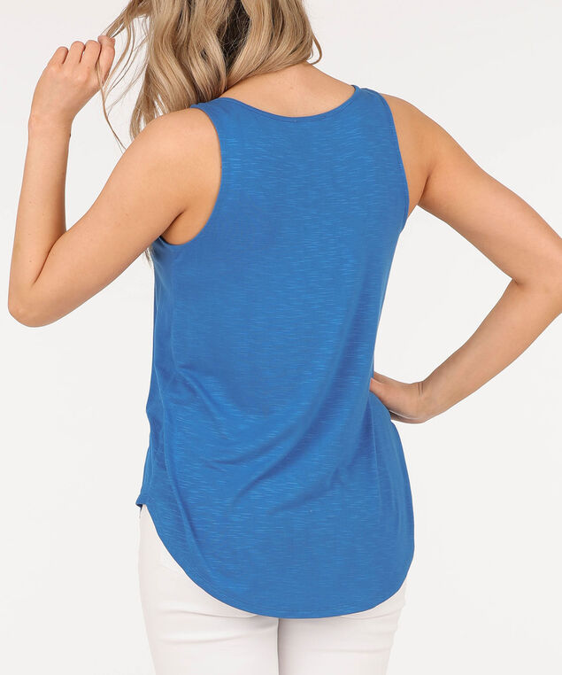 Sleeveless Button Loop Top, Cerulean, hi-res