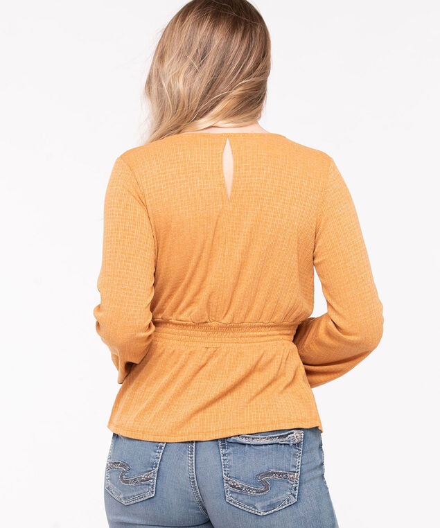 Long Sleeve Faux Wrap Top, Gold, hi-res