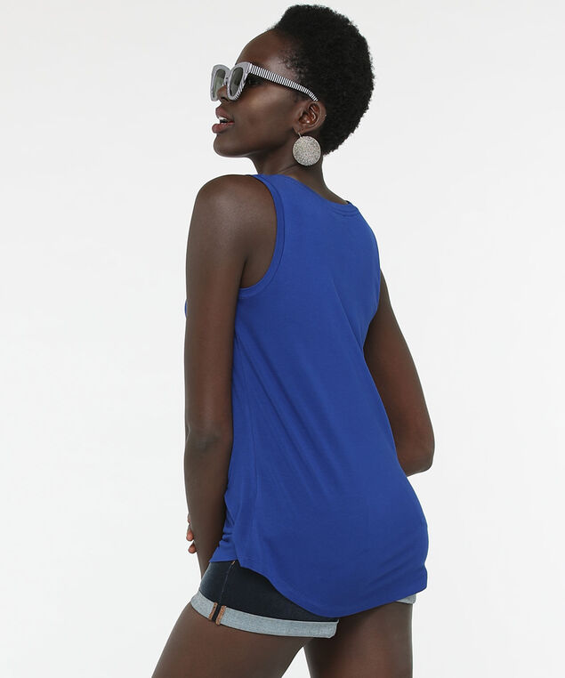 Sleeveless V-Neck Top, Cobalt, hi-res
