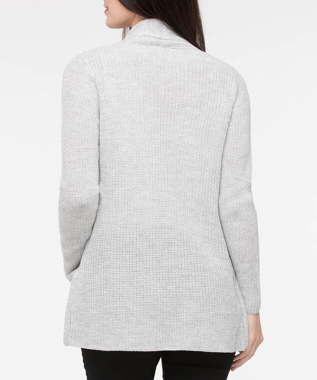 Ribbed Open Cardigan, Light Heather Grey, hi-res