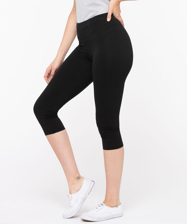 Knit Legging - Capri, Black, hi-res