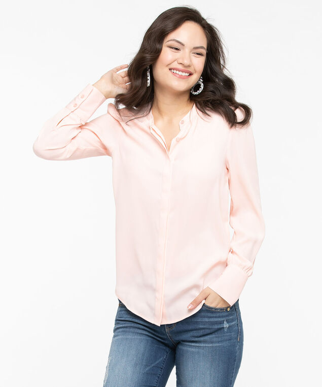 Collarless Spliced Back Detail Blouse, Rose Petal, hi-res