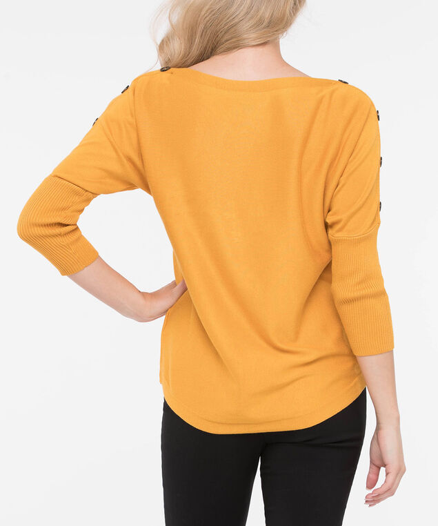 Button Detail Boatneck Sweater, Marigold, hi-res