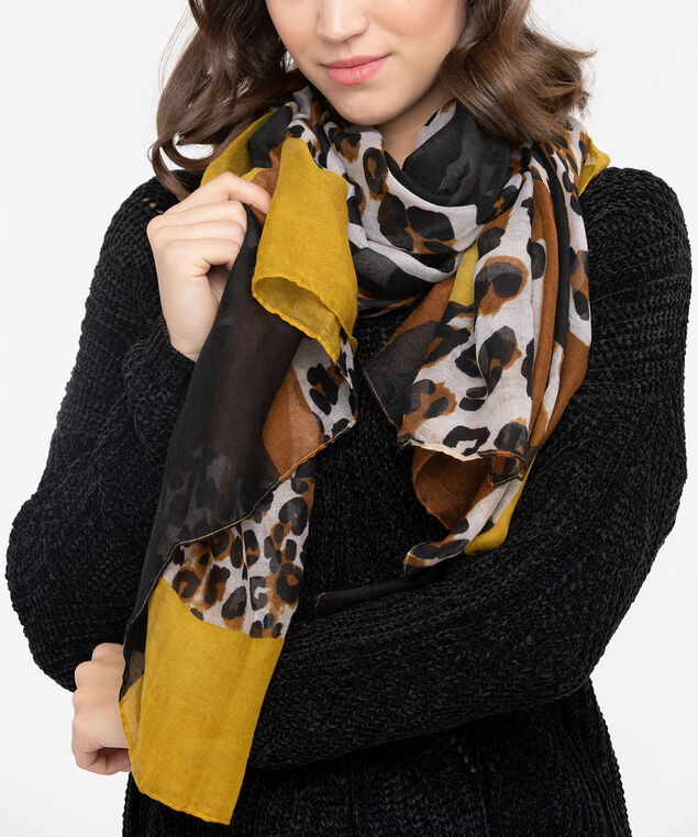Leopard Colour Block Oblong Scarf, Black/Almond/Marigold, hi-res