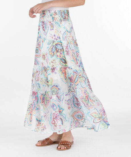 Smocked Waist Tiered Maxi Skirt, Pearl/Sangria/Coral/Blue, hi-res