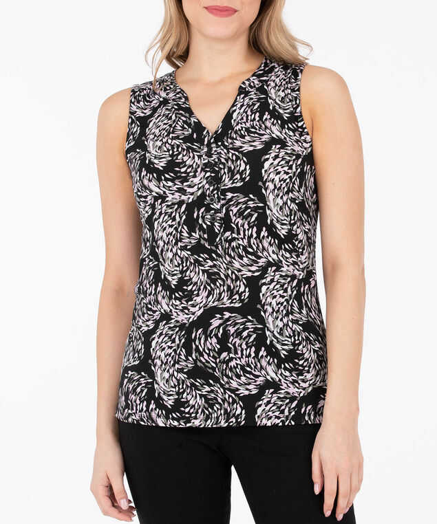 Sleeveless Button Front Henley Top, Black/Cameo Pink/Grey, hi-res