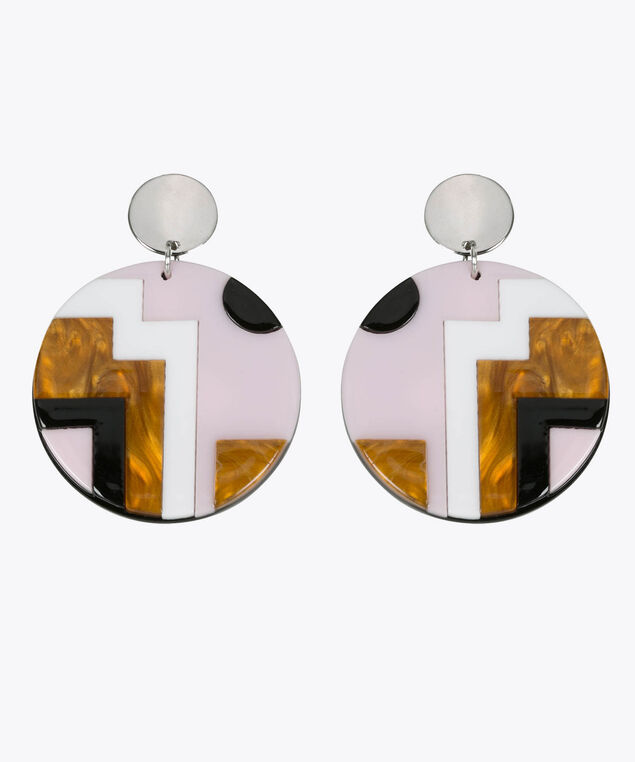 GEOMETRIC RESIN DISC EARRING, Cameo Pink/Black/True White, hi-res