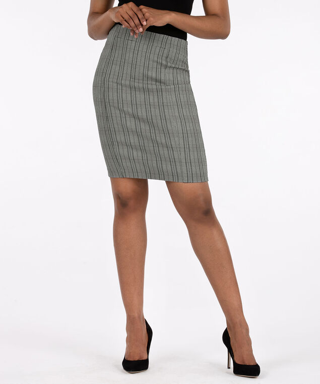 Plaid Microtwill Pencil Skirt, Black/White, hi-res