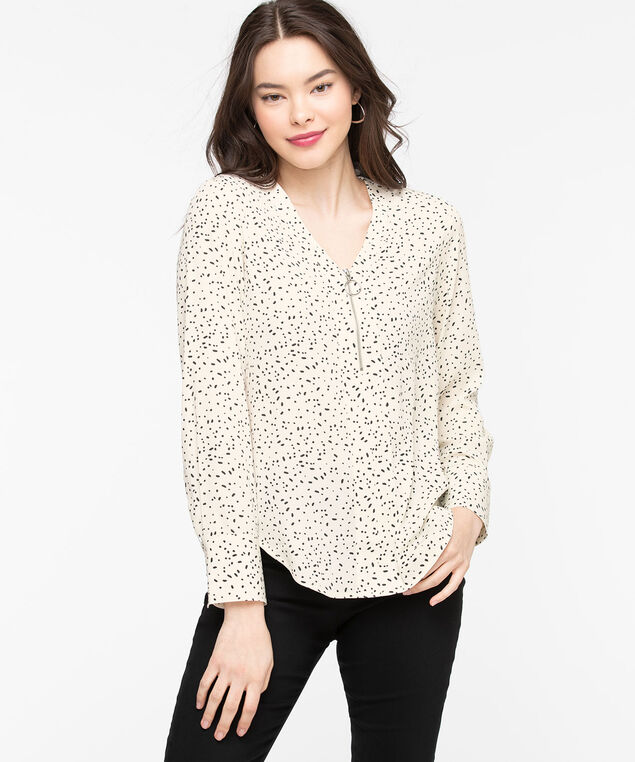Zipper Front Popover Blouse, Ivory Scattered Dot