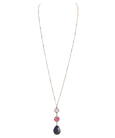 Faceted Stone Drop Pendant Necklace, Blue/Pink/Soft Gold, hi-res