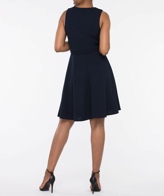 Sleeveless Crossover V-Neck Dress, Navy, hi-res