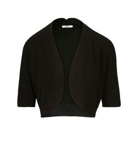 Ruched Sleeve Bolero, Black, hi-res