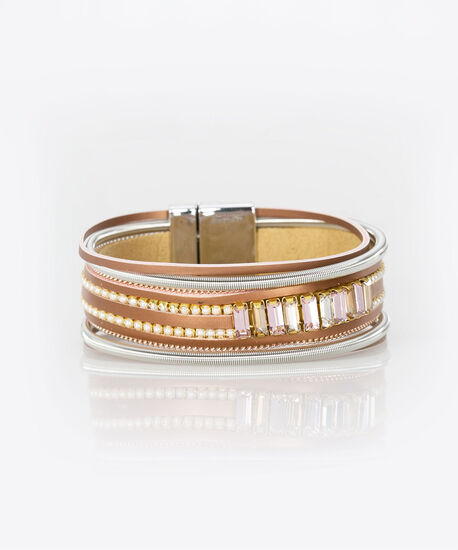 Pearl & Crystal Faux Leather Bracelet, Rhodium/Cameo Pink/Gold, hi-res