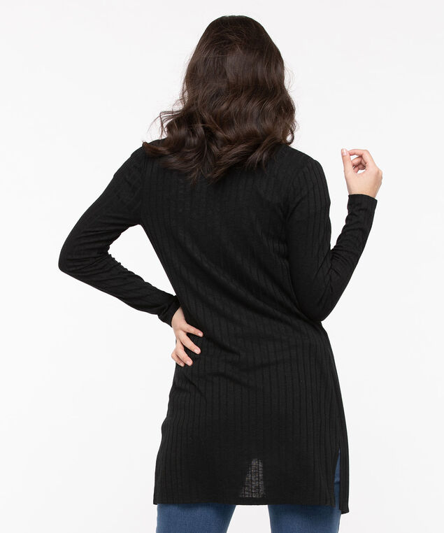 Ribbed Longline Open Cardigan, Black, hi-res