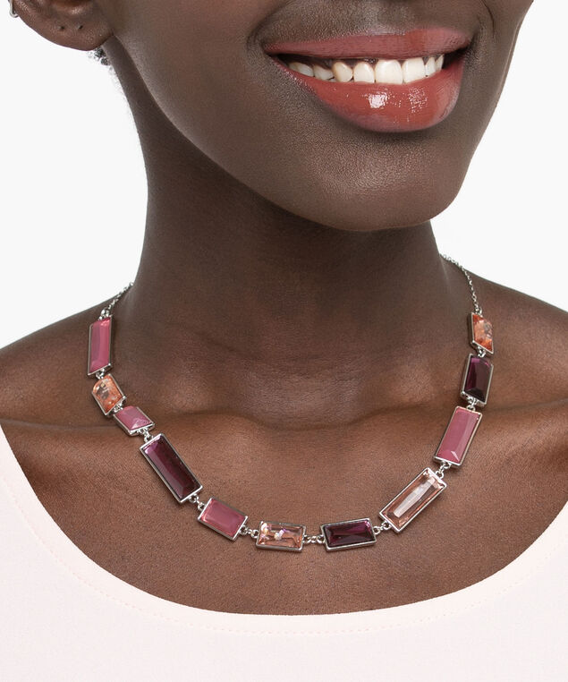 Rectangular Ombre Bead Necklace, Rhodium/Dusty Blush/Berry, hi-res
