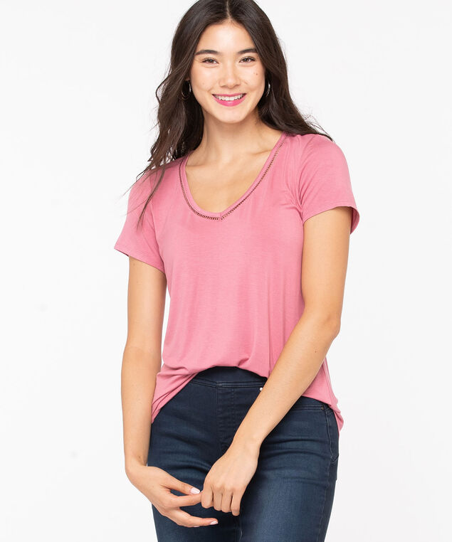 Ric-Rac V-Neck Tee, Misty Rose, hi-res