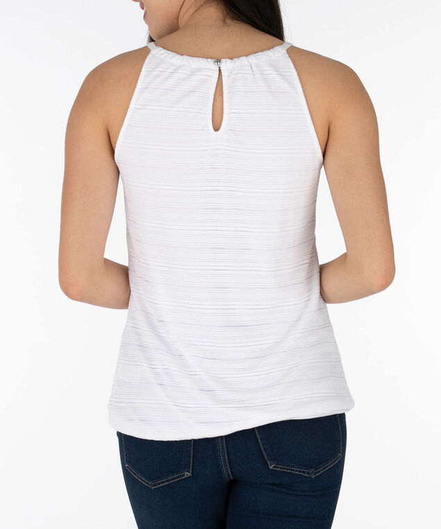 Sleeveless Burnout Bubble Top, True White, hi-res