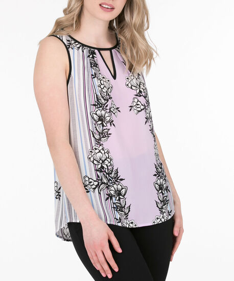 Tipped Keyhole Sleeveless Blouse, Iced Violet/Black, hi-res