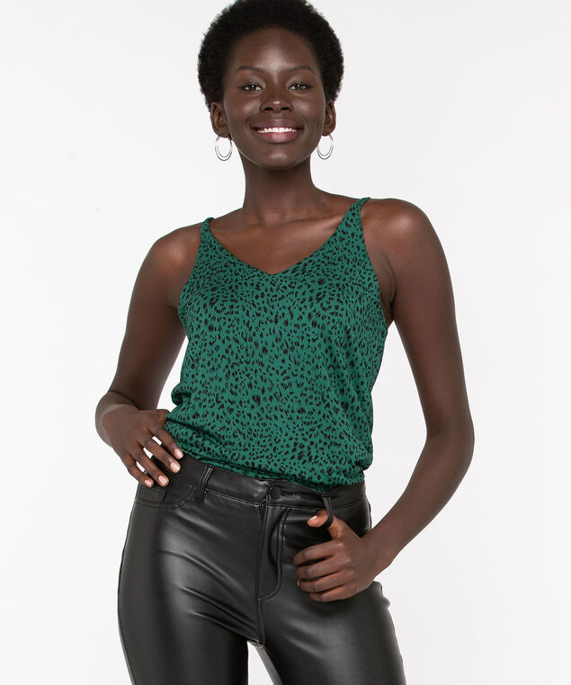 Strappy Animal Print Double-V Top, Emerald/Black, hi-res