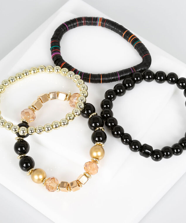 Beaded Stretch Bracelet Set, Black/Gold, hi-res