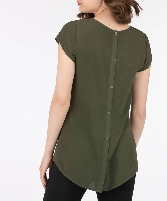 Short Sleeve Button Back Blouse, Sage, hi-res