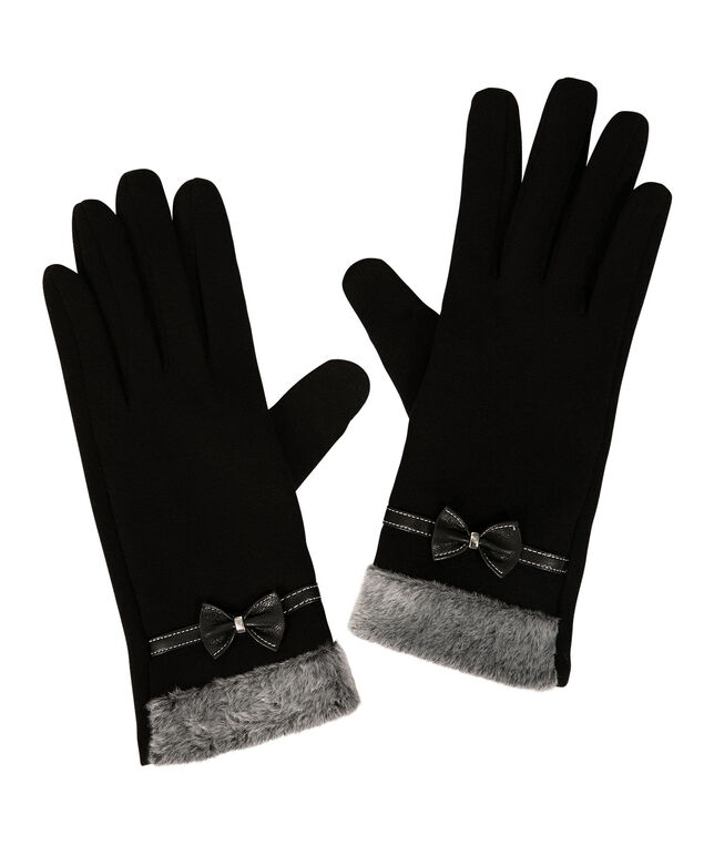 Faux Fur Cuff & Bow Texting Glove, Black/Grey, hi-res