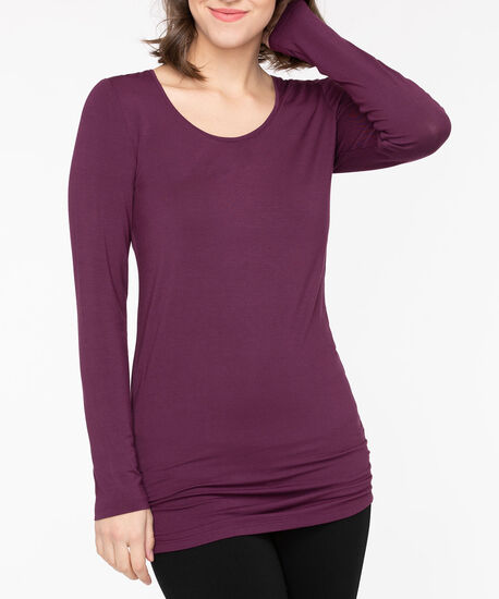 Ruched Essential Layering Top, Berry, hi-res