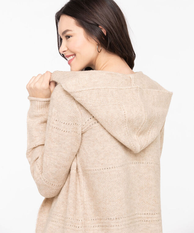 Pointelle Hooded Open Cardigan, Heathered Camel, hi-res