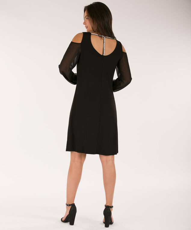 Crystal Trim Cold Shoulder Dress, Black, hi-res