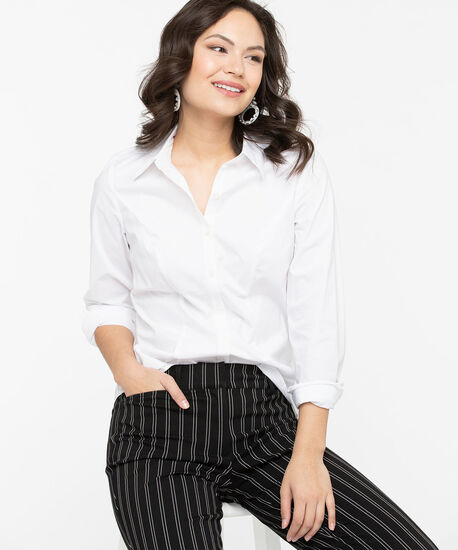 Fitted Button Front Collared Shirt, Pearl, hi-res